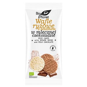 Bio Planet Wafle ryżowe z sezamem w mlecznej czekoladzie 100g BIO